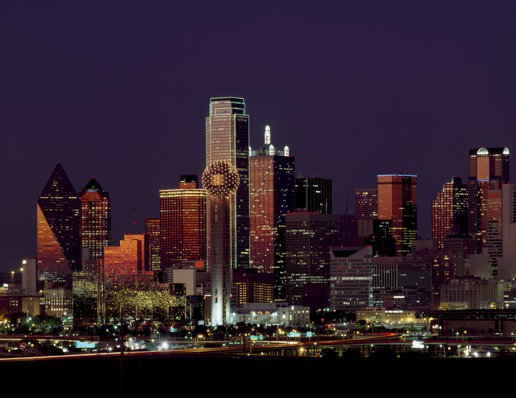 landscape lights skyline buildings